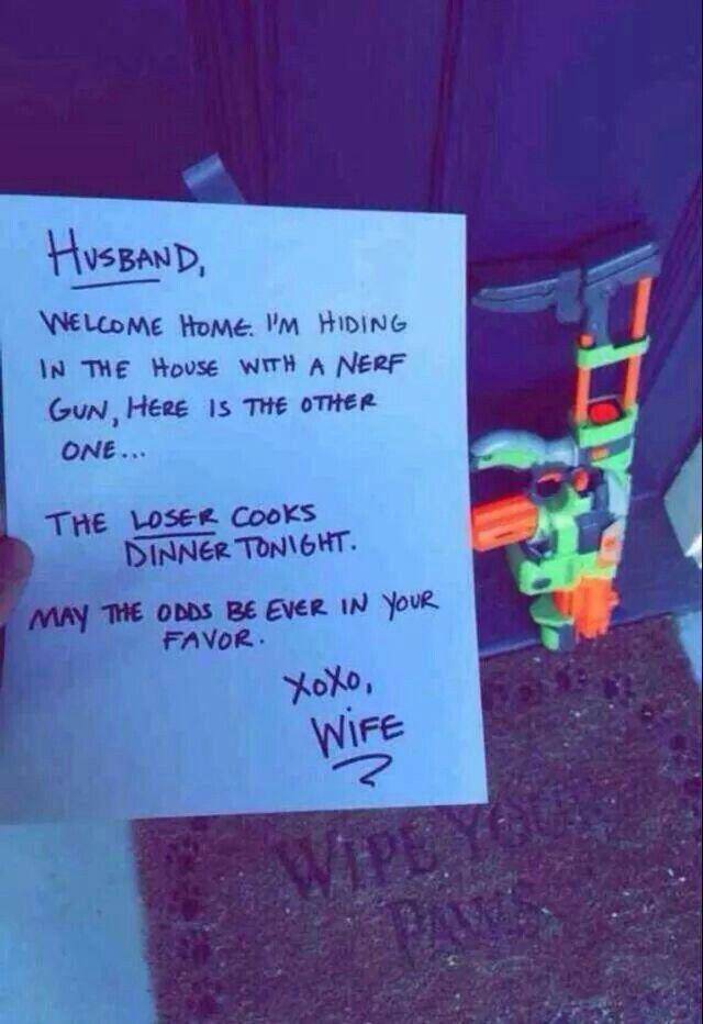 Fun nerf gun war greeting note to husband from wife loser makes fun nerf gun war greeting note to husband from wife loser makes dinner m4hsunfo