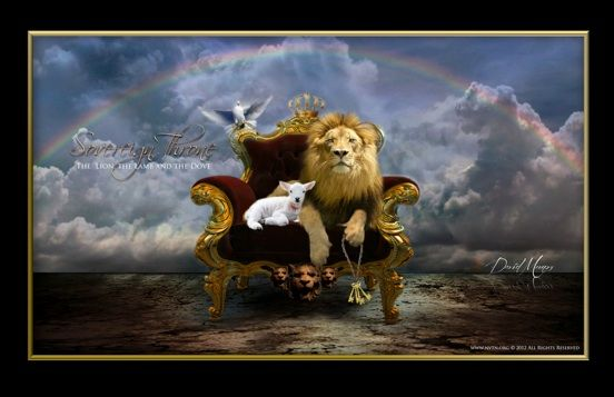 The throne is a symbol for sovereignty and authority. The king rules his kingdom sitting upon the throne. His  w…   Prophetic art, Judah and the lion, Bible pictures