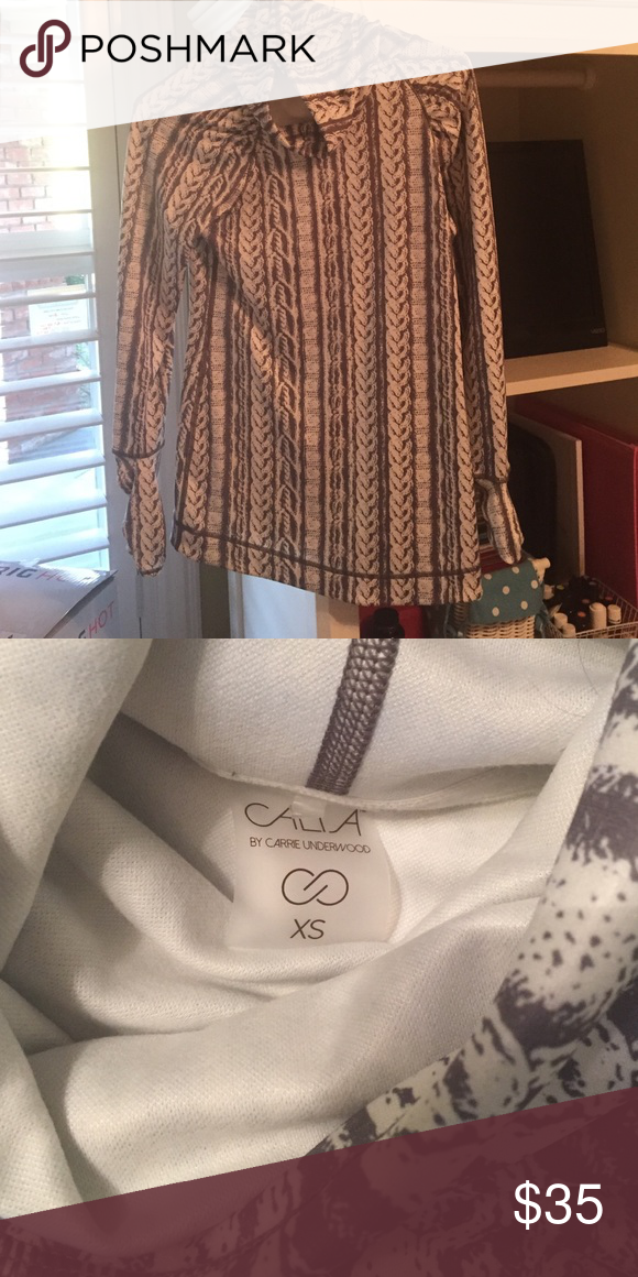 Calia By Carrie Cowel Neck Top Lightweight grey and white cowel neck top. Great for workouts! Only been worn once! Perfect condition CALIA by Carrie Underwood Tops