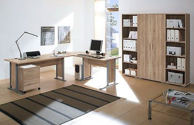Arbeitszimmer Buroeinrichtung Buromobel Buro Komplett Office Line Eiche Sonoma Ebay Buromobel Buromobel Design Mobel
