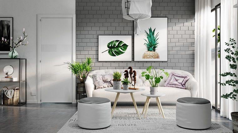 Pavimento Bianco E Grigio : Idee per arredare casa salotto arredo con un divano bianco e due