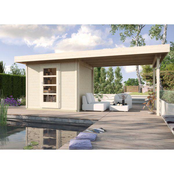 Weka Holz Gartenhaus wekaLine Natur 300 cm x 295 cm mit Anbau 300 cm