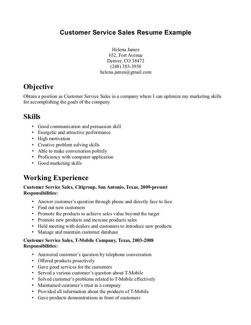 Resume Objective Statement For Customer Service Customer Service
