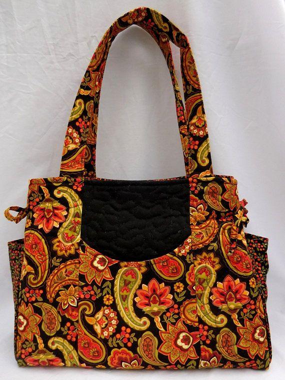 0e8786e3b Purse, Quilted Purse, Handmade Purse, Fabric Purse, Orange and Black Purse,  Floral Purse, Handbag, Shoulder bag, Tote
