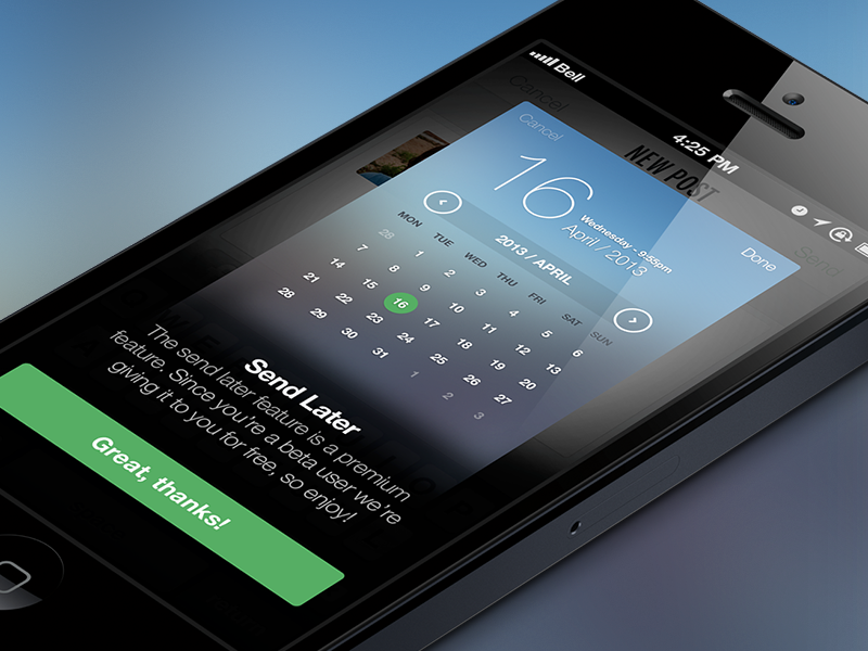 iOS7 Inspired Date & Time Picker Overlay | App Design | Ios