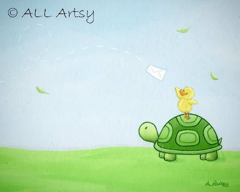 Pen Pal - 8x10 Matted Canvas Art Print - Turtle and Duck Painting ...