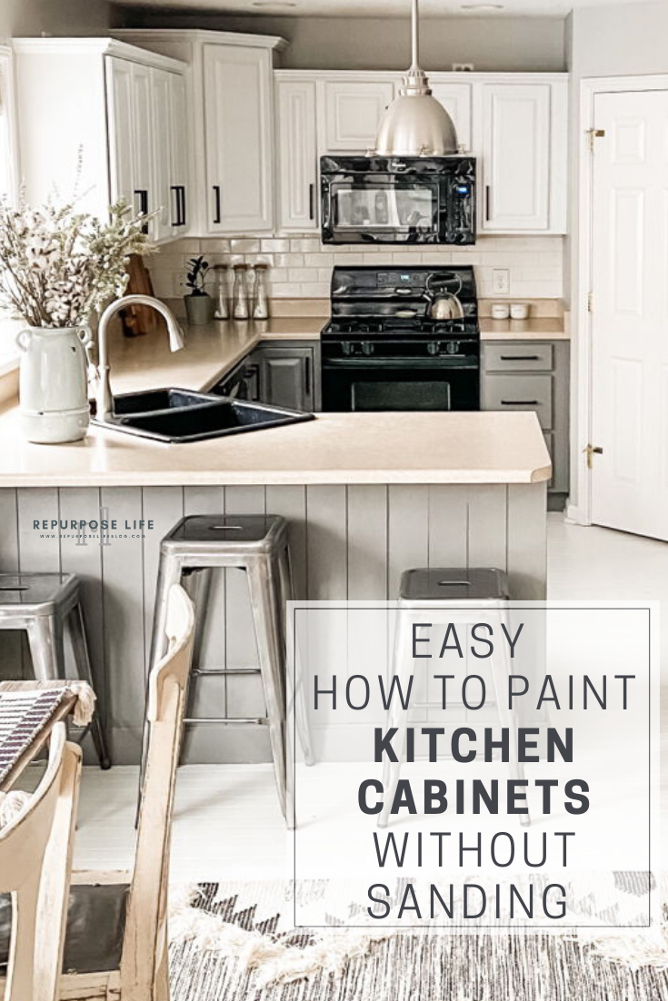 Easy How To Paint Kitchen Cabinets Without Sanding Repurpose Life Painting Kitchen Cabinets Kitchen Cabinets Diy Kitchen Cabinets Painting