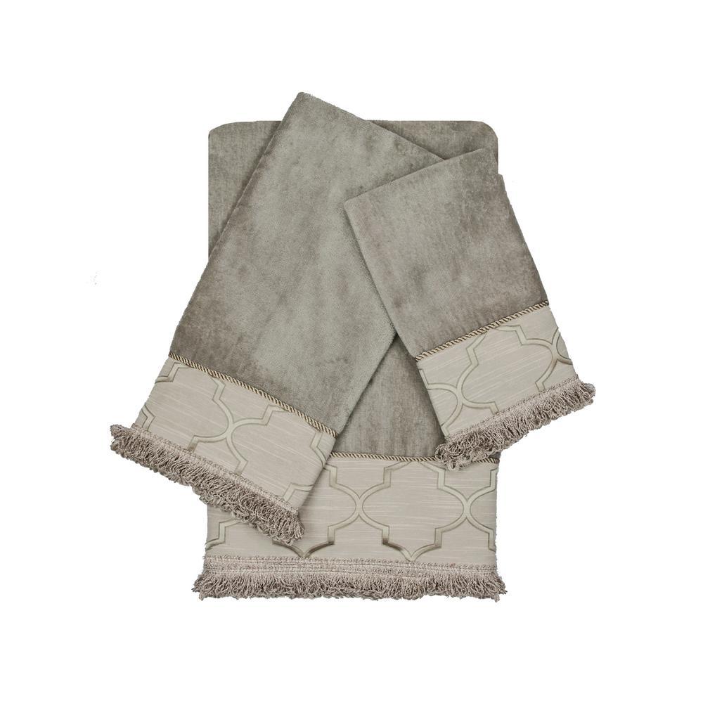 Austin Horn Collection Ascot 3 Piece Gray Floral Bath Towel Set