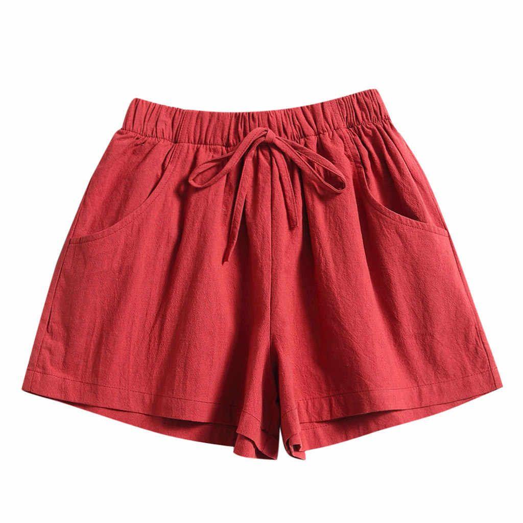 Pantalones Cortos Holgados Para Mujer Shorts Con Cordon Comodos Informales Con Cintura Elastica Y Bolsillos 2020 Pantalones Cortos Aliexpress Pantalones Bermudas De Mujer Verano Informal Pantalones Cortos