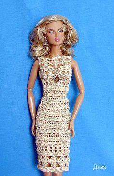 Barbie wearing a Beautiful Crocheted Dress
