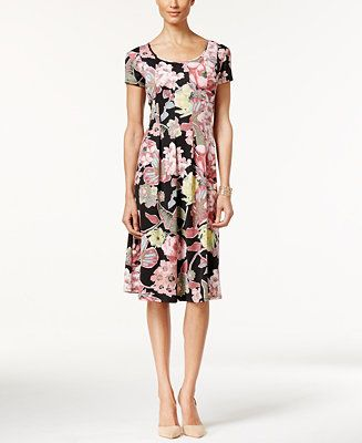 NY Collection Petite Pleated Floral-Print Sheath Dress - Dresses - Women - Macy's