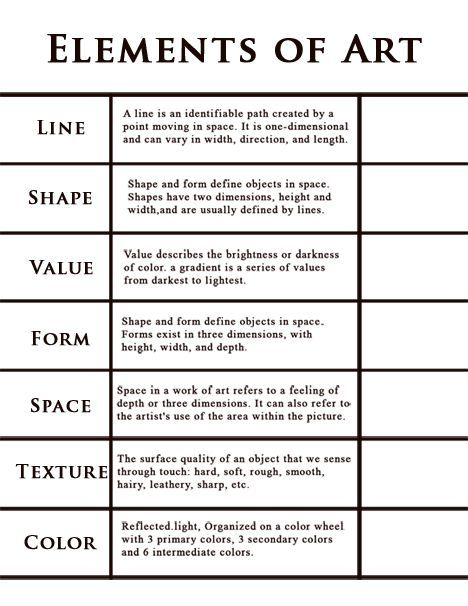 Elements Of Art : Art handouts vocabulary definitions page class
