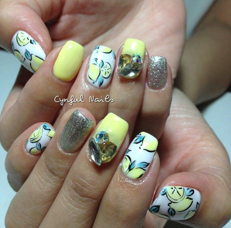 Nail Art Dan Extension Kuku: Lemonade Nails Art By @cynfulnails