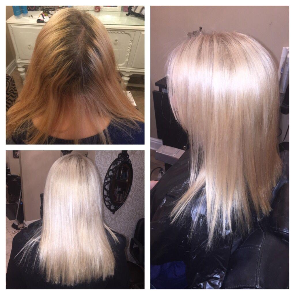 Before After Platinum Blonde Highlights And Base High Lift Color Added Olaplex Bright Shiney Medium Lengt Blonde Hair Color Bleached Hair Dark Skin Blonde Hair