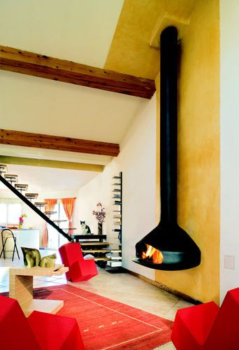 Gas fireplace / wall-mounted / open hearth / contemporary PAXFOCUS ...