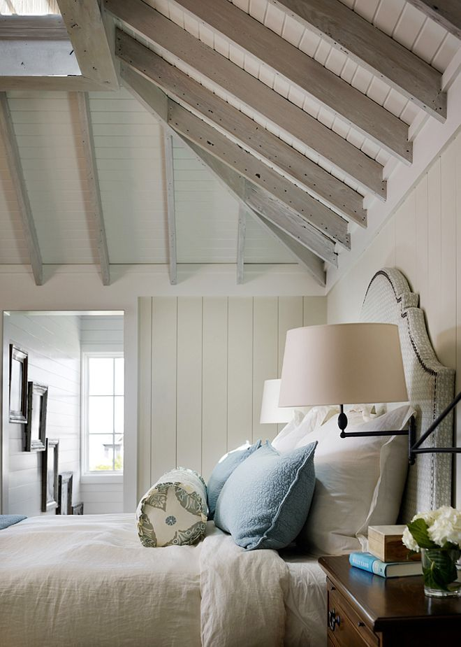 exposed lime washed timber rafters shiplap walls