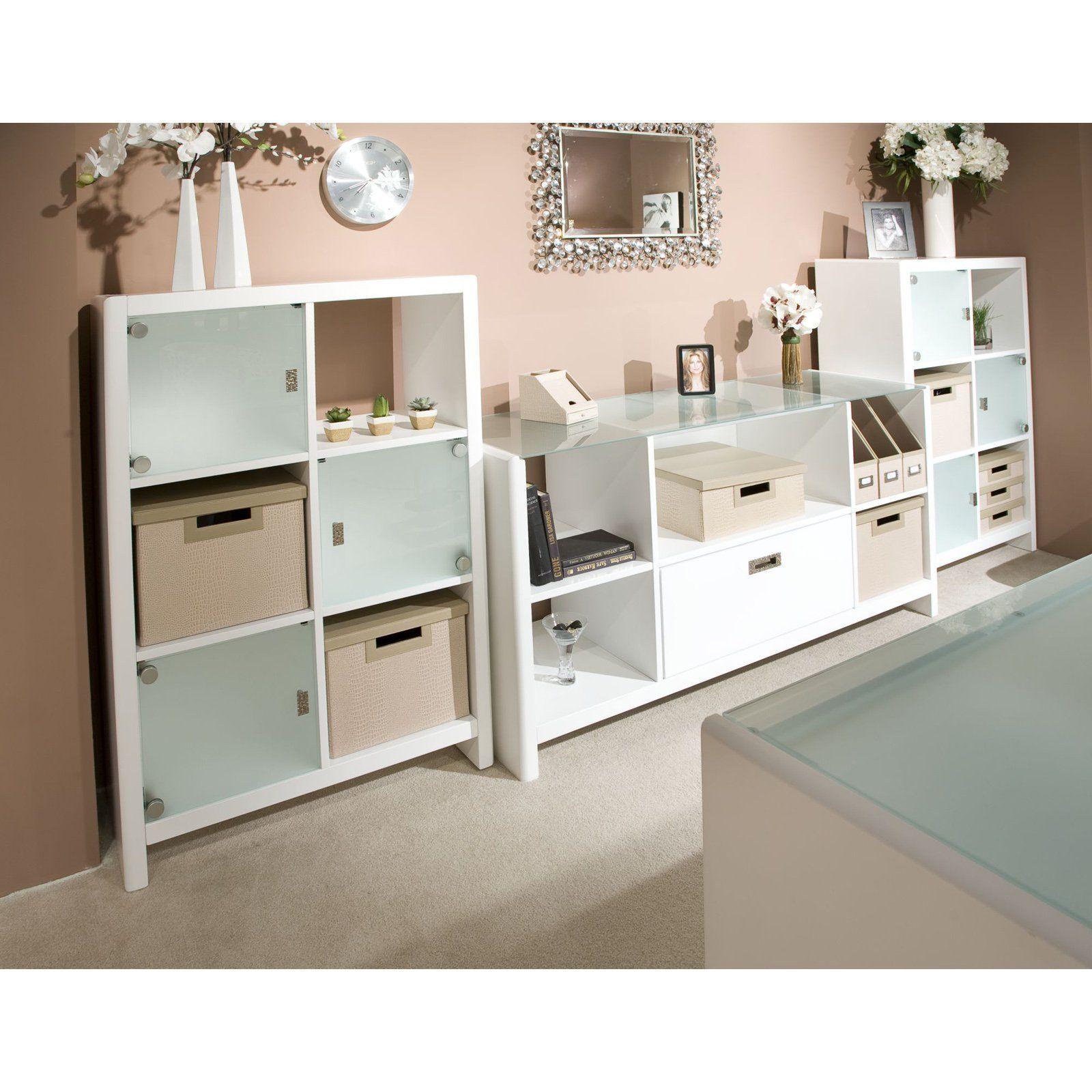 Kathy ireland office by bush furniture new york skyline 6 cube bookcase with optional credenza from hayneedle com bedroomfurniturebybushfurniture