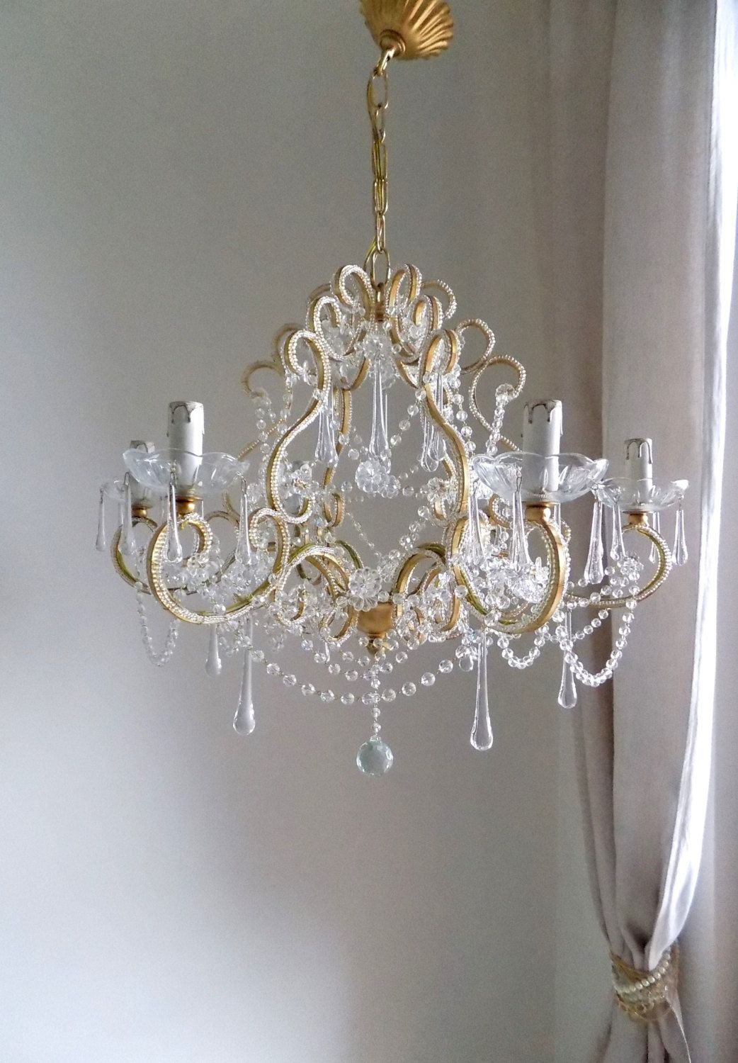 Italian Crystal Chandelier Gold Leaf Birdcage Chandelier Antique Style 6 Lights Clear Murano Drops Macaroni Beads Crystal Swags In 2020 Swag Chandelier Low Ceiling Chandelier Crystal Chandelier