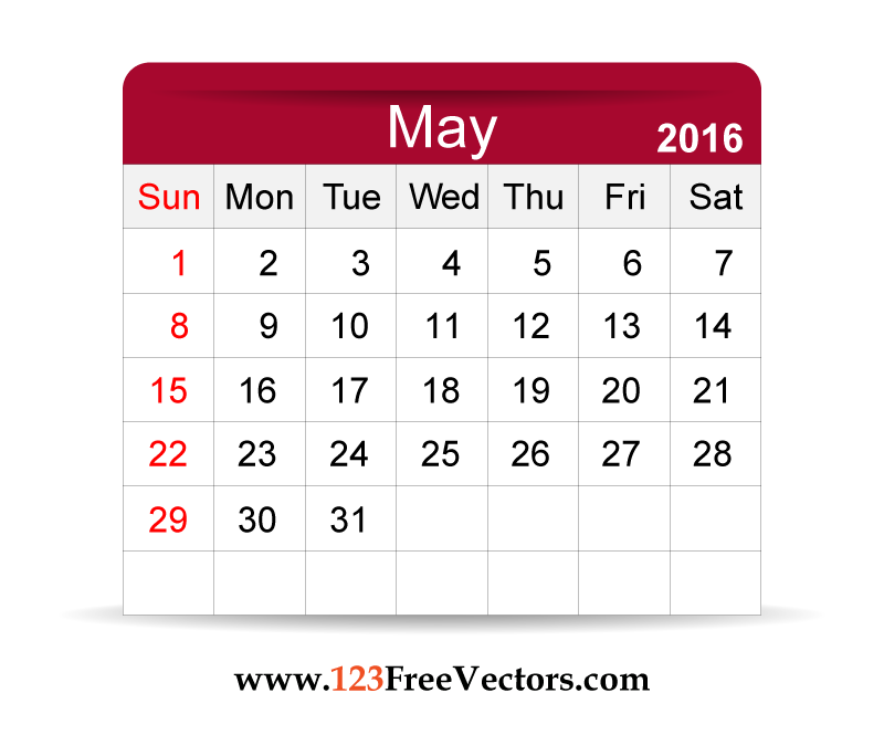 Free Vector 2016 Calendar May 2016 Calendar Adobe Illustrator And