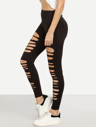 7686b244ca82 Black Ripped Stretchy Skinny Pants | Stuff to buy | Cut out leggings ...