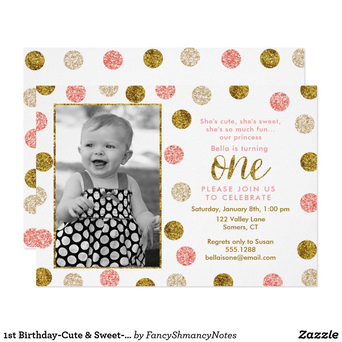 1st Birthday-Cute & Sweet-Pink, Gold Glitter Photo Card | Glitter ...