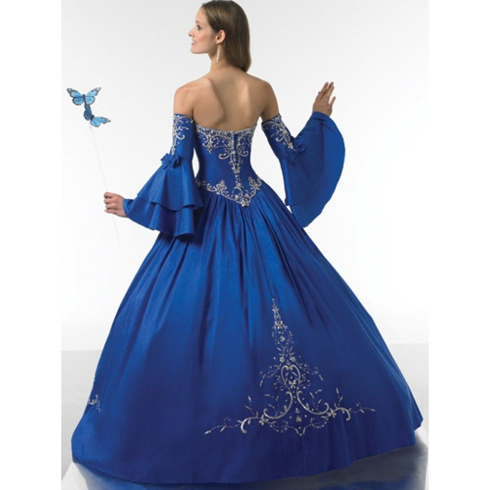 royal blue dresses | Ball Gown Strapless Ruched Embroidery Satin ...