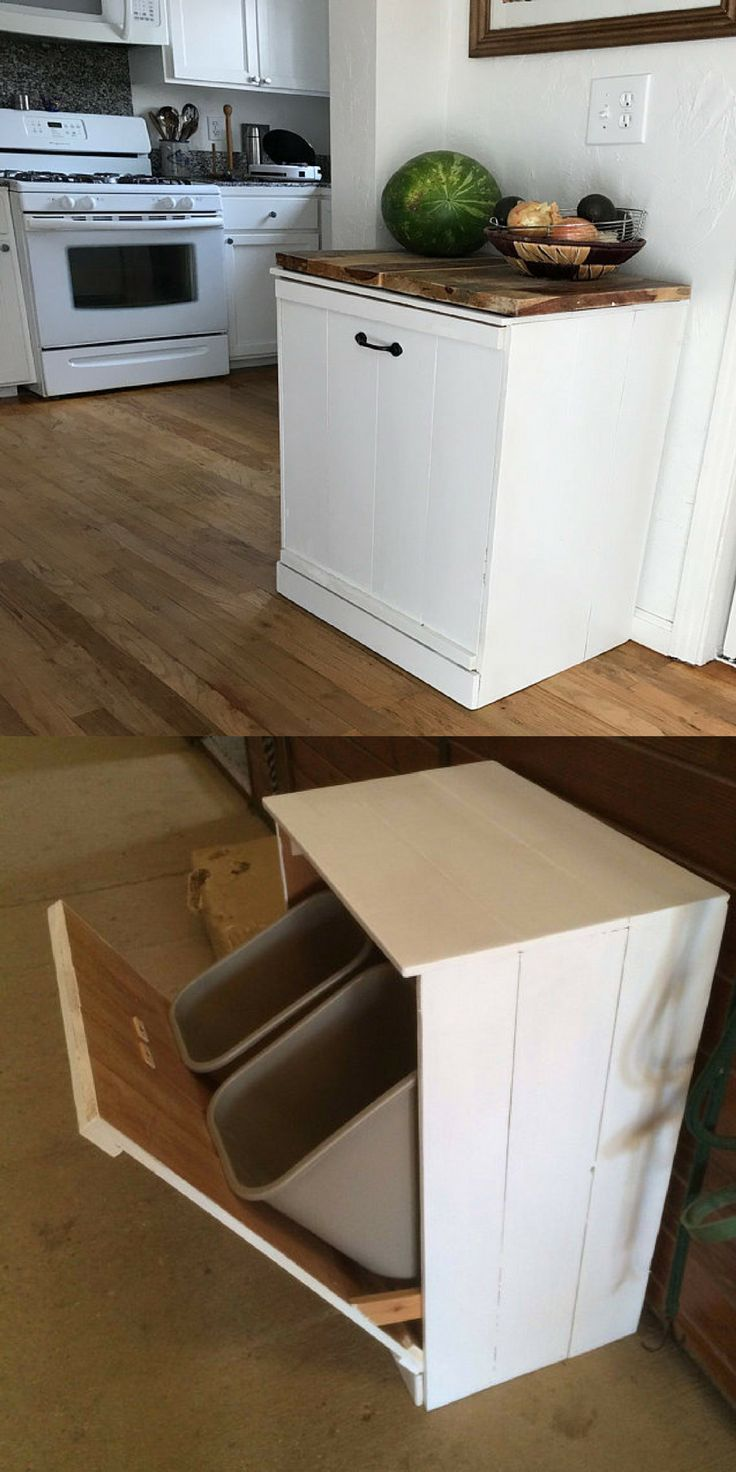 Such A Clever Idea To Hide That Eyesore Of A Garbage Can Tilt Out Trash Bin Tilt Out Hamper Laundry Hamper Laun Home Decor Kitchen Kitchen Remodel Kitchen