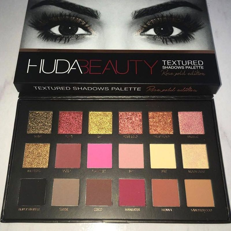 18 colors huda beauty eyeshadow rose gold textured pallete. Black Bedroom Furniture Sets. Home Design Ideas