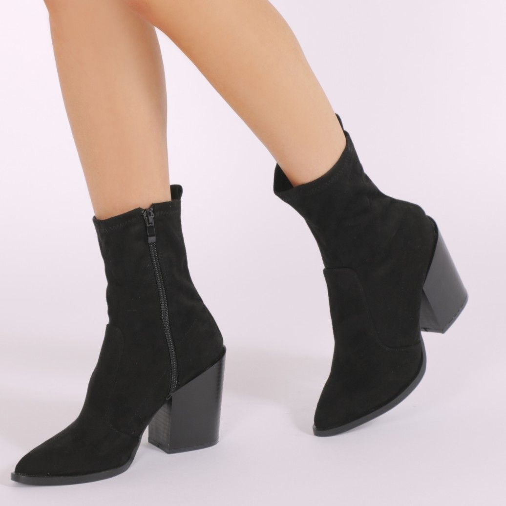 4255dfc84 Gabriella Western Style Sock Boots in Khaki Crushed Velvet ...