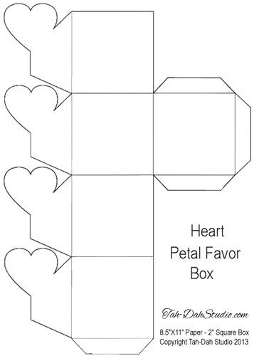 Good Petal Gift Favor Gable Box Party Heart Hearts Printable Party Decoration  Template | Tah DahStudio In Gift Box Template Free