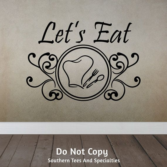 Lets Eat Chef Hat Spoon Fork Swirls Family Dinner Table Dining Kitchen Cooking Personalized Word Art Vinyl Wall Decal Sticker