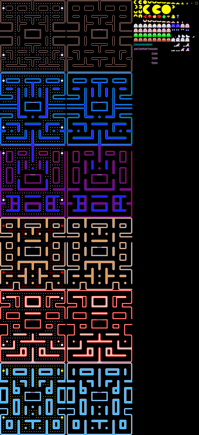 Pac Man Ultra Additional Levels Nes Sprite Sheets