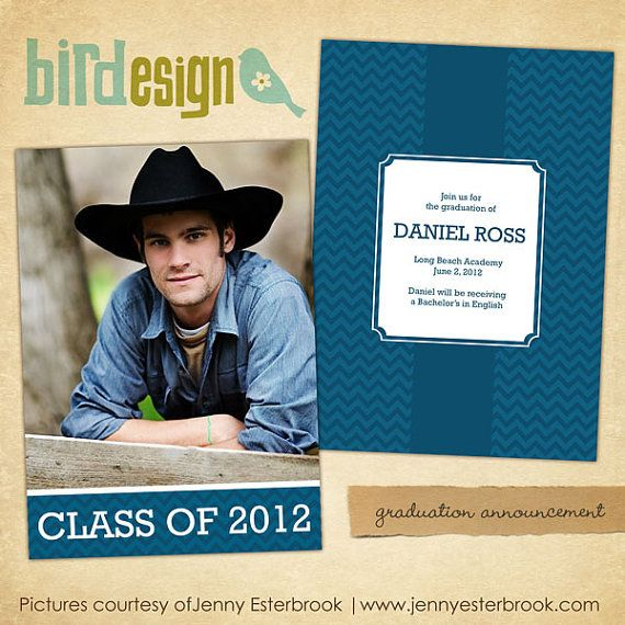 INSTANT DOWNLOAD Graduation announcement Photoshop by birdesign ...