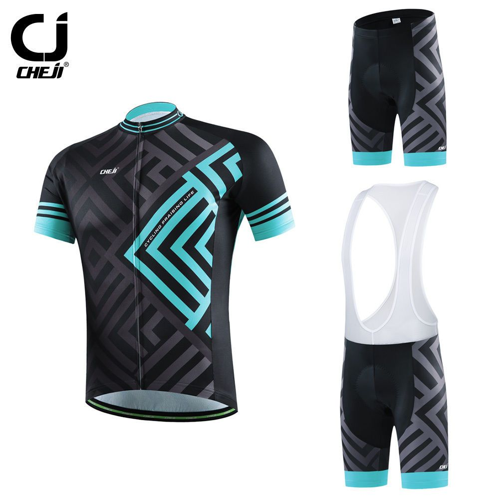 CHEJI Maze Men s Cycling Kit   Suit Bike Bicycle Jersey and Mountain Bike  Padded Shorts   Bib Shorts Set Blue Quick Dry  Affiliate d7624d522