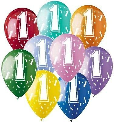 "9 or 18 pc 11"" 1st #1 Latex Balloon Happy Birthday Party Baby One First"