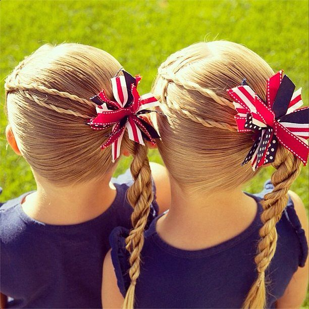 Patriotic twists to the side is such a sweet look on kids as well as big girls!