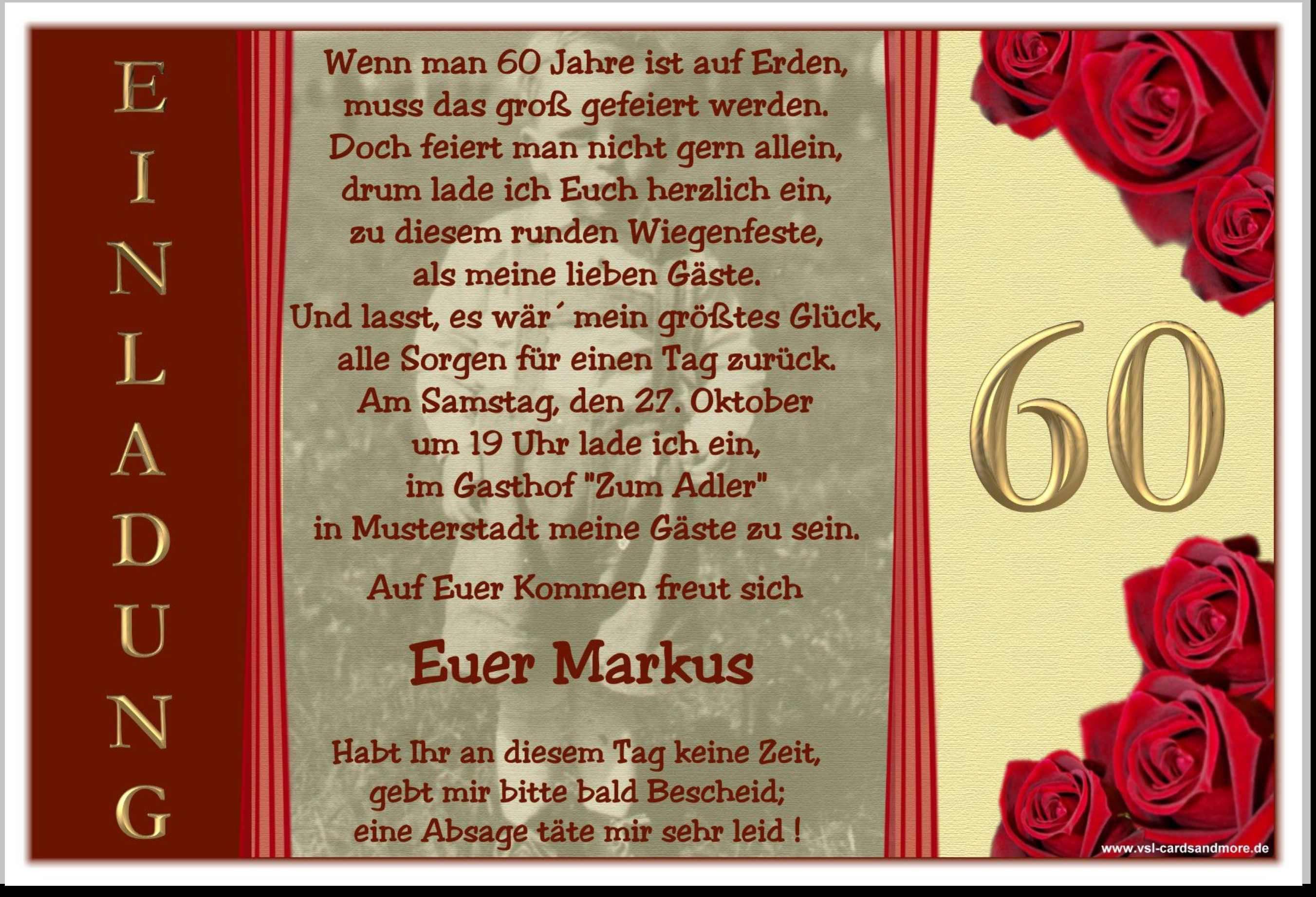 Einladung 60 Geburtstag Lustig Einladung Geburtstag Text