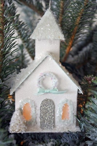 Glitter House Tutorial By Connie Xmas Crafts Christmas Ornaments Christmas Decorations