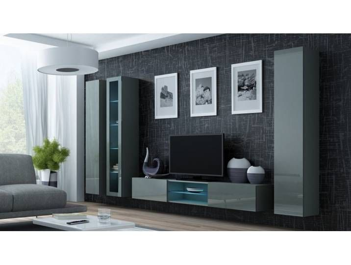 Wohnwand Anbau Wand Fernsehschrank Hangeschrank Regal Hochglanz Matt W Living Room Furniture Modern Wall Units Furniture