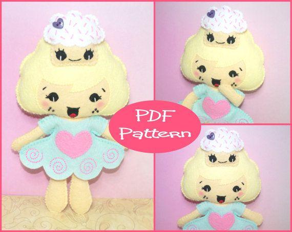 PDF Pattern - Cupcake Girl, Felt Doll Pattern, Sewing Pattern, Felt ...