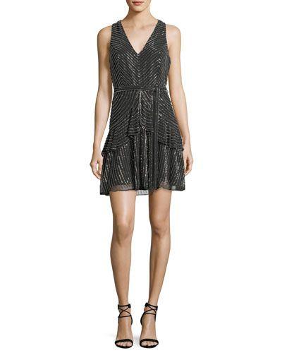 PARKER BLACK ESTELLE METALLIC V-NECK COCKTAIL DRESS. #parkerblack #cloth #