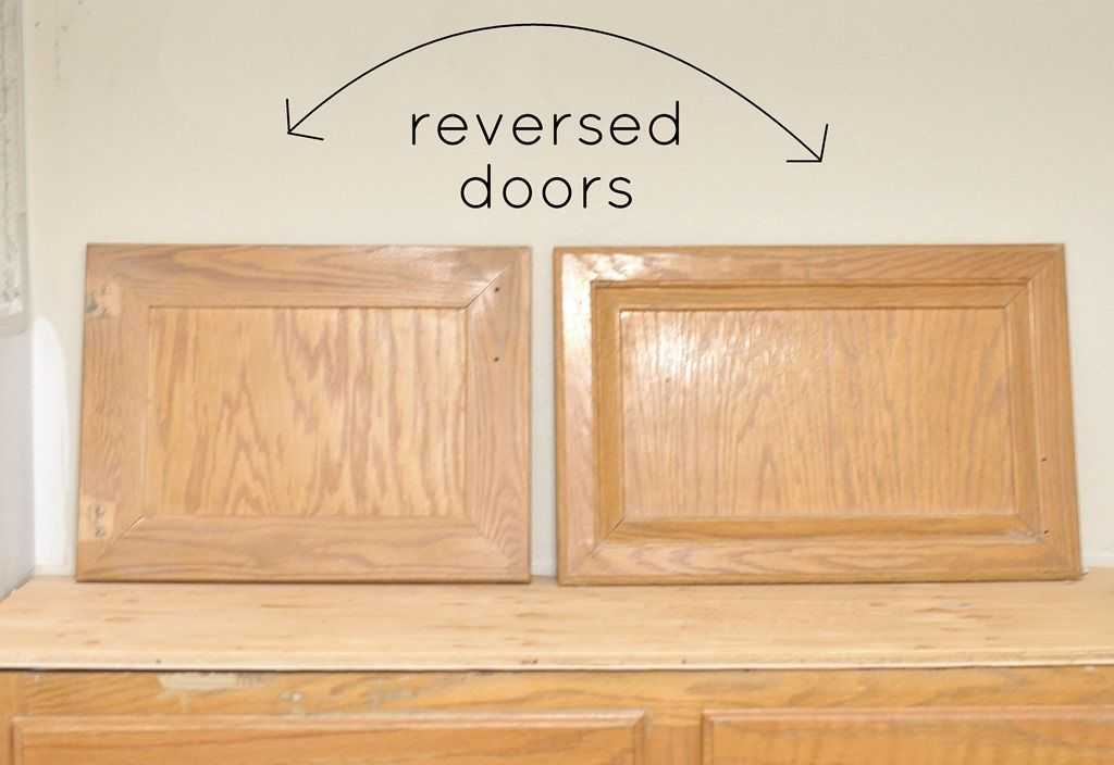Reverse cabinet doors for a more shaker look - brilliant idea! For ...
