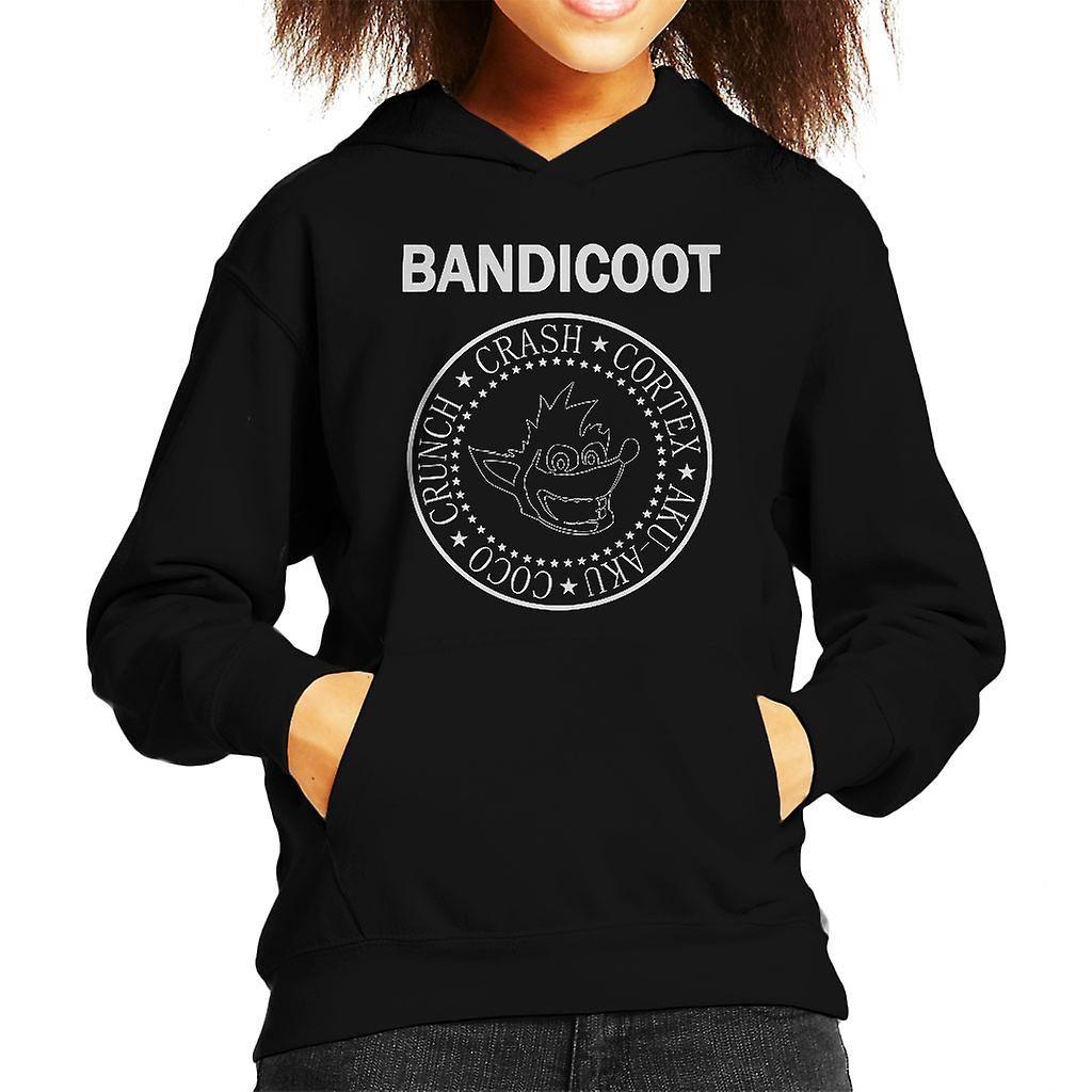 Crash Bandicoot Ramones Logo Kid's Hooded Sweatshirt, Black / Large (9 / 11 yrs)