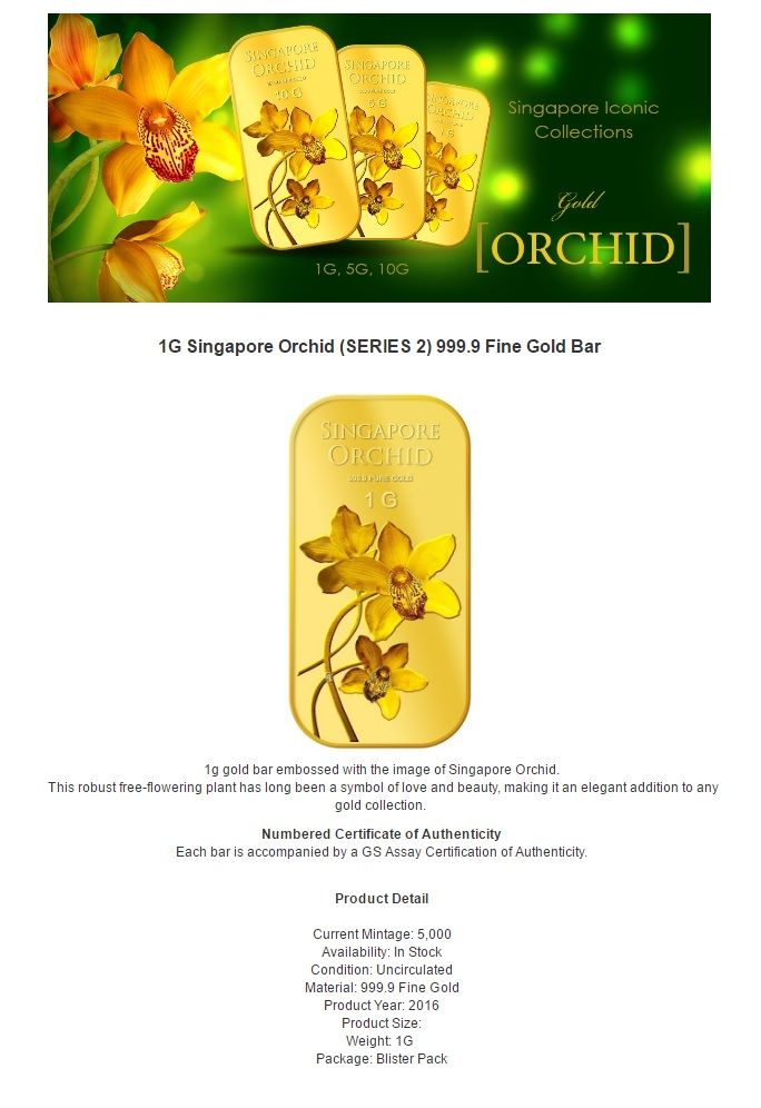 Puregold Singapore 1g Orchid Series 2 Gold Bar 999 9 Gold Bar Singapore Orchids