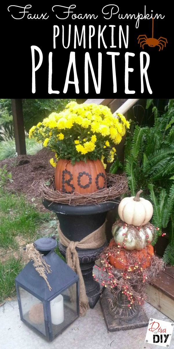 This Boo pumpkin planter is the perfect addition to my fall decorations. Tutorial to put on buttons, pumpkin carving and glazing to make it look realistic!  http://divaofdiy.com/pumpkinfest-boo-pumpkin-planter/