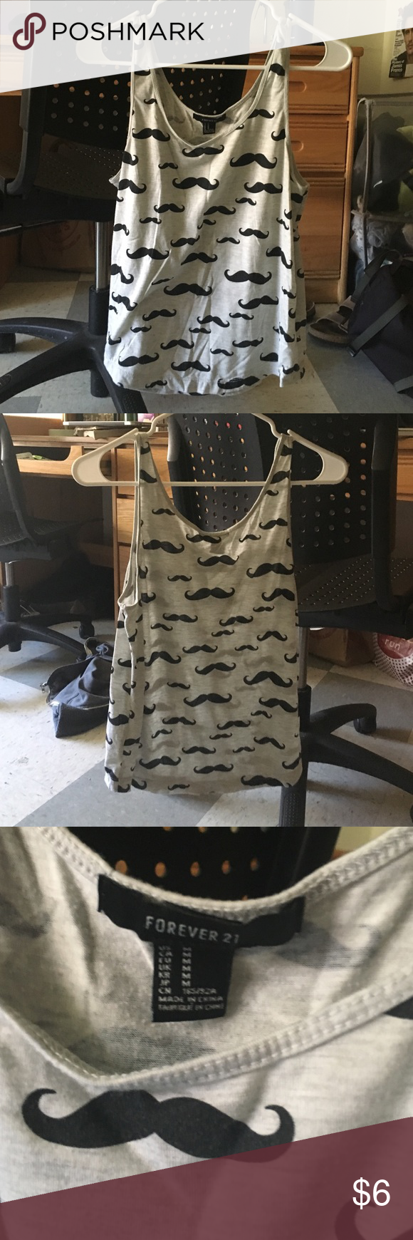 Mustache tank top crop top forever 21 Fun tank top from forever 21 only worn a few times-selling cause it's not my style anymore, price negotiable!! Forever 21 Tops Tank Tops