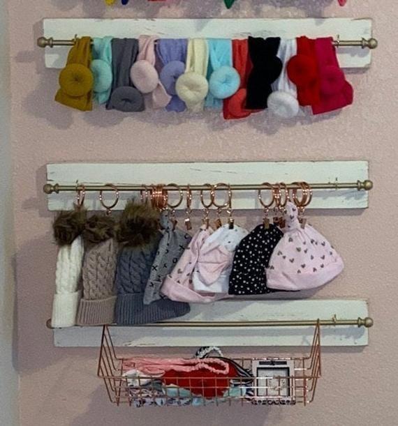 Personalized Headband and bow holder, Baby girl nursery decor, Baby shower gift, Bow and headband organizer, Head wrap holder