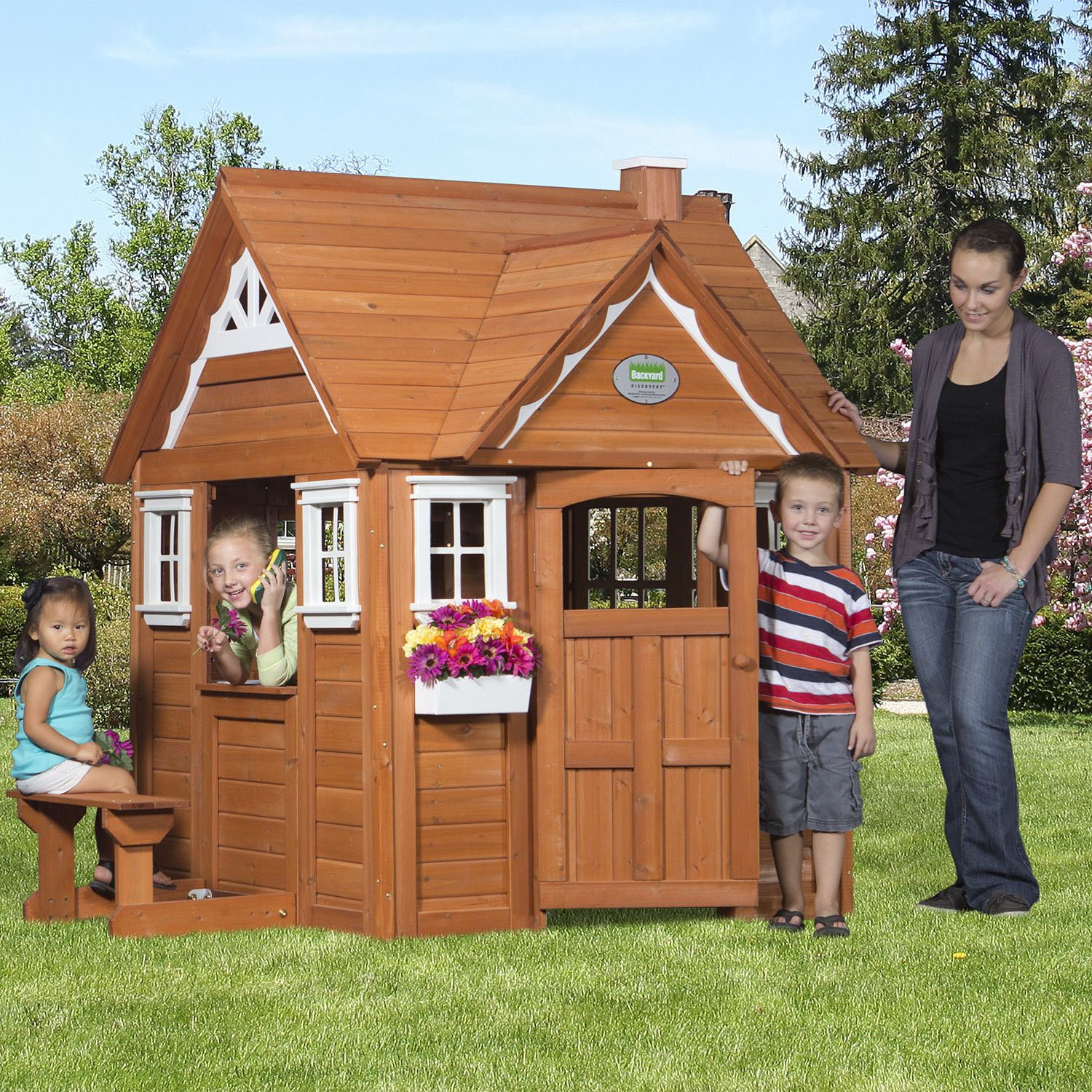 Outdoor wooden cedar cottage play house for kids for Kids outdoor playhouse