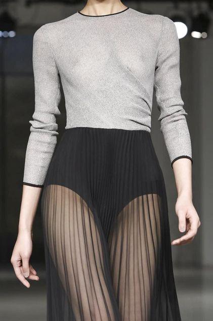 Long pleated sheer skirt & chic top; elegant transparency; fashion details // Barbara Casasola S/S 2015