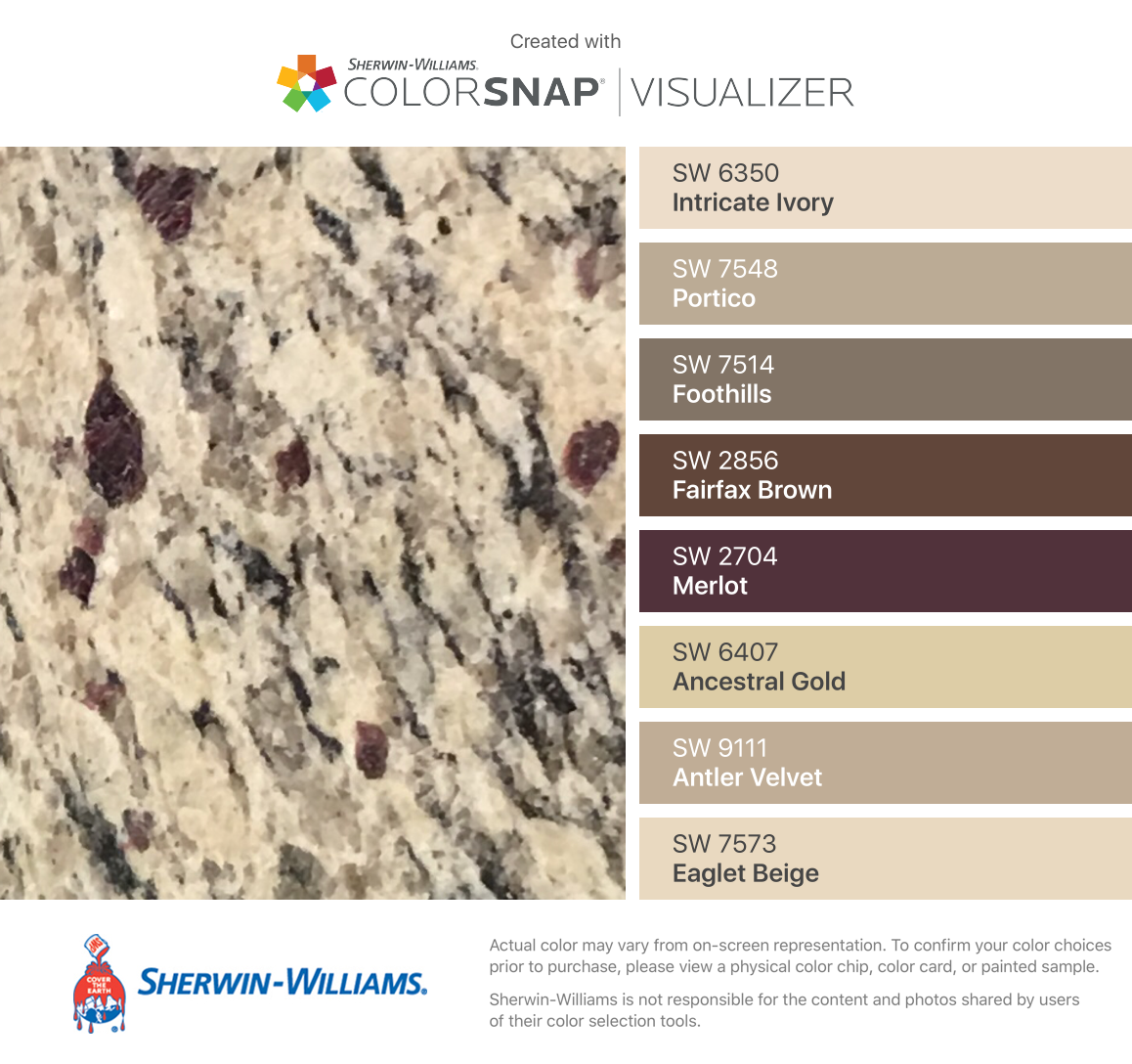 I found these colors with colorsnap visualizer for iphone - Sherwin williams foothills interior ...